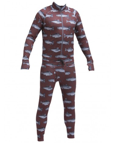 AIRBLASTER HOODLESS NINJA SUIT-BURGUNDY FISH