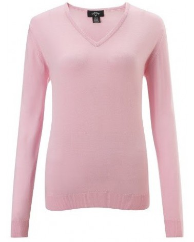 CALLAWAY L/S LOW V NECK SWEATER PINK LADY