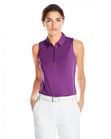 CALLAWAY SLEEVELESS SOLID POLO DEWBERRY