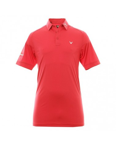 CALLAWAY UK SOLID INTERLOCK POLO W/BUILT-IN MESH TANGO RED