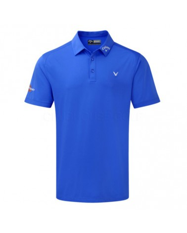 CALLAWAY SS SOLID INTERLOCK POLO W/BUILT-IN MESH MAGNETIC BLUE