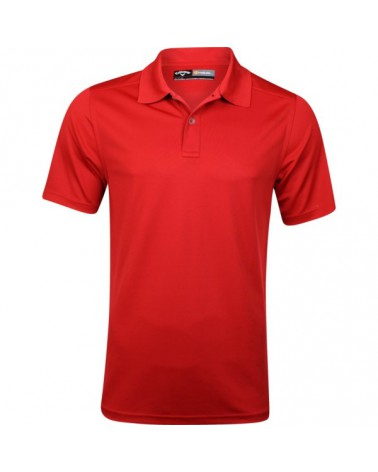 CALLAWAY SOLID OPTI-DRI STRETCH POLO W/ TANGO RED
