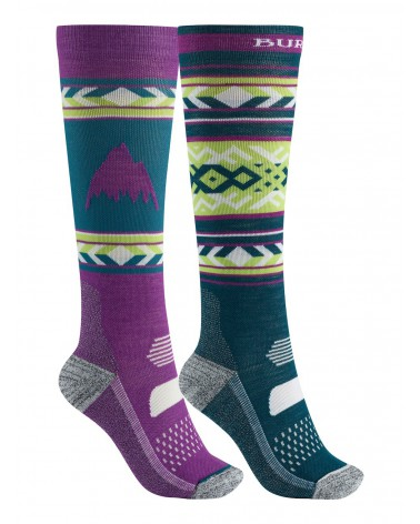 BURTON PERFORMANCE LIGHTWEIGHT SOCK 2PK GREEN-BLUE SLATE